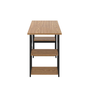 Oak Eaton Desk, Black Frame, Side View