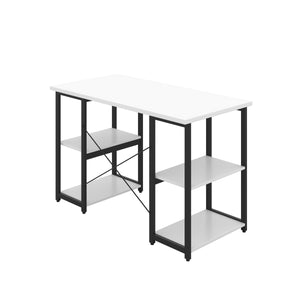 White Eaton Desk, Black Frame, Back Angle View