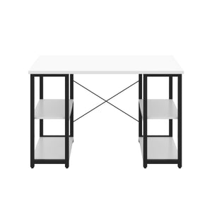 White Eaton Desk, Black Frame, Front View