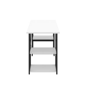 White Eaton Desk, Black Frame, Side View