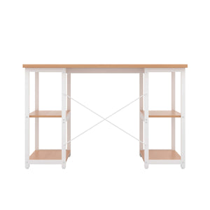 Beech Eaton Desk, White Frame, Back View