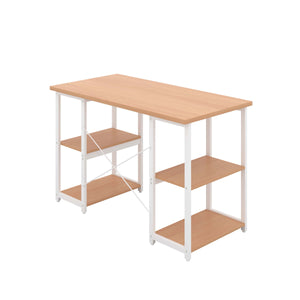 Beech Eaton Desk, White Frame, Back Angle View
