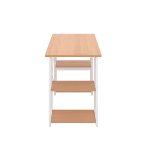 Beech Eaton Desk, White Frame, Side View