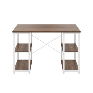 Dark Walnut Eaton Desk, White Frame, Front View