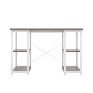 Grey Oak Eaton Desk, White Frame, Back View