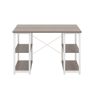 Grey Oak Eaton Desk, White Frame, Front View