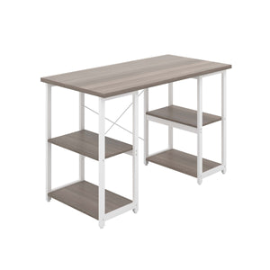 Grey Oak Eaton Desk, White Frame, Front Angle View