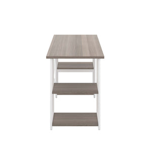 Grey Oak Eaton Desk, White Frame, Side View