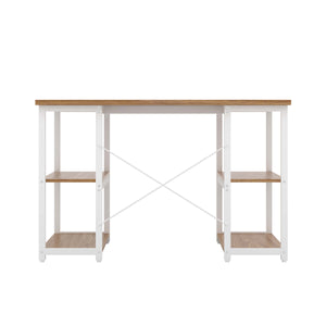 Oak Eaton Desk, White Frame, Back View