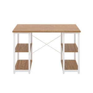 Oak Eaton Desk, White Frame, Front View