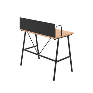 Beech Bilbury Desk, Black Frame, Back Angle View