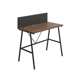 Dark Walnut Bilbury Desk, Black Frame, Front Angle View
