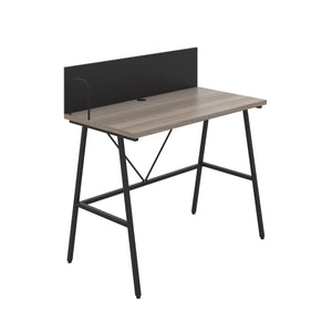 Grey Oak Bilbury Desk, Black Frame, Front Angle View