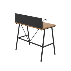 Oak Bilbury Desk, Black Frame, Back Angle View