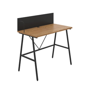 Oak Bilbury Desk, Black Frame, Front Angle View