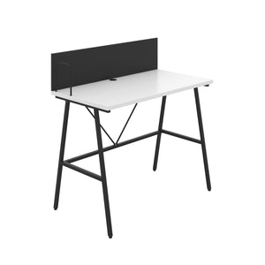 White Bilbury Desk, Black Frame, Front Angle View