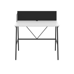 White Bilbury Desk, Black Frame, Front View