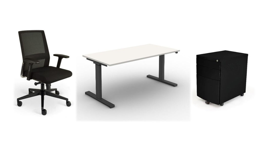 Home Office in a Box, Electric Sit/Stand Desk Bundle, Black Fabric, White Top, Black Frame, Black Ped