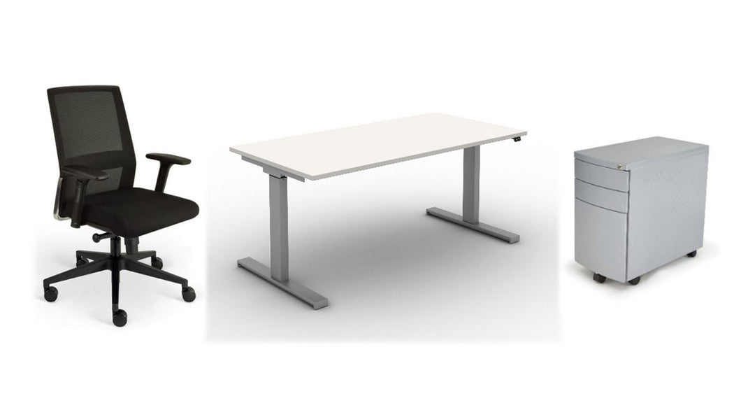 Home Office in a Box, Electric Sit/Stand Desk Bundle, Black Fabric, White Top, Silver Frame, Silver Ped