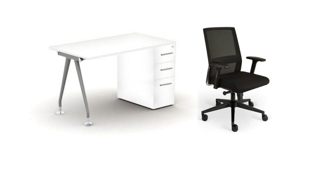 Home Office in a Box, Tapered Steel Leg Workstation Bundle, Black Fabric, White Top, Silver Frame, White Ped