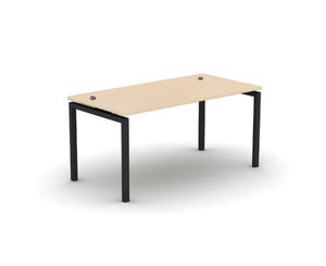 Maple desk with black metal frame and cable ports