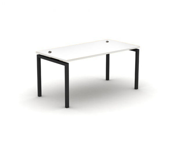 White desk with black metal frame and cable ports