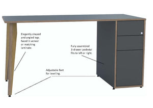 grey desk with drawers with oak legs and text detailing product freatures
