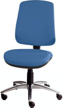 Load image into Gallery viewer, XR3 Chair, Polished Aluminium Base, No Arms, Blue Blue Faux Leather