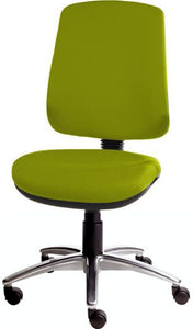 XR3 Chair, Polished Aluminium Base, No Arms, Lime Green Faux Leather