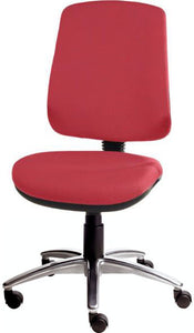XR3 Chair, Polished Aluminium Base, No Arms, Red Scarlet Faux Leather