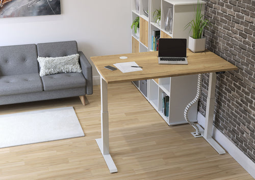 Home workspace with electrically height adjustable sit-stand desk, storage unit and sofa