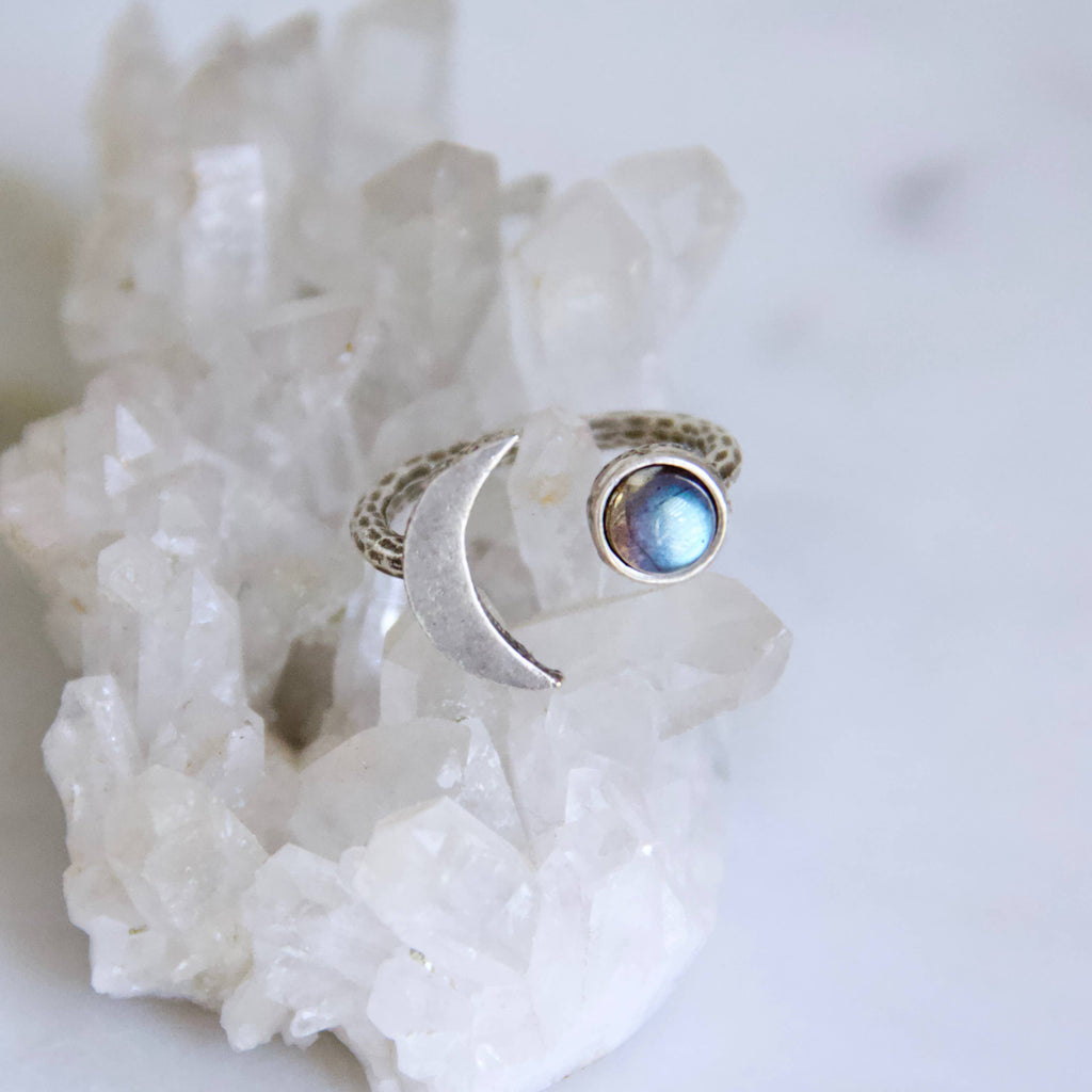 Labradorite Crescent Moon Ring