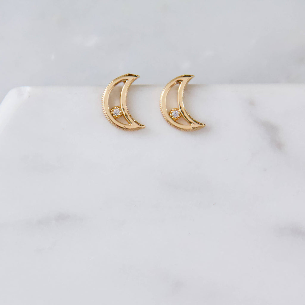 Zircon Moon Earrings