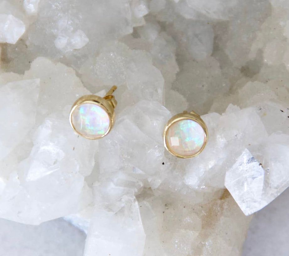 Faceted Opal Studs