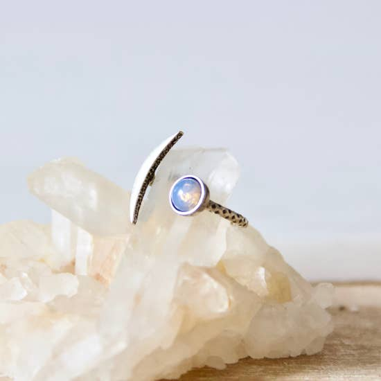 Silver Opalite Crescent Ring