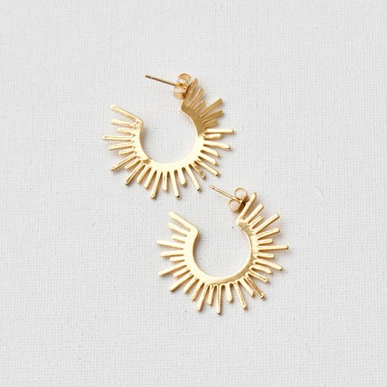 Sun Silhouette Hoop Stud Earrings