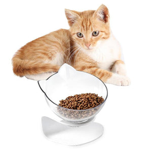 Pet Bowl Cat Ears Shaped Transparent Feeder