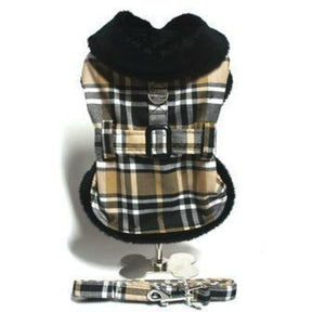 Brown Plaid Classic Pet Coat Harness with Matching Leash