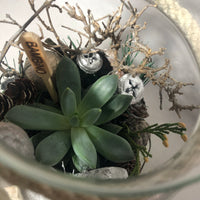 Succulent Christmas Glass Jar