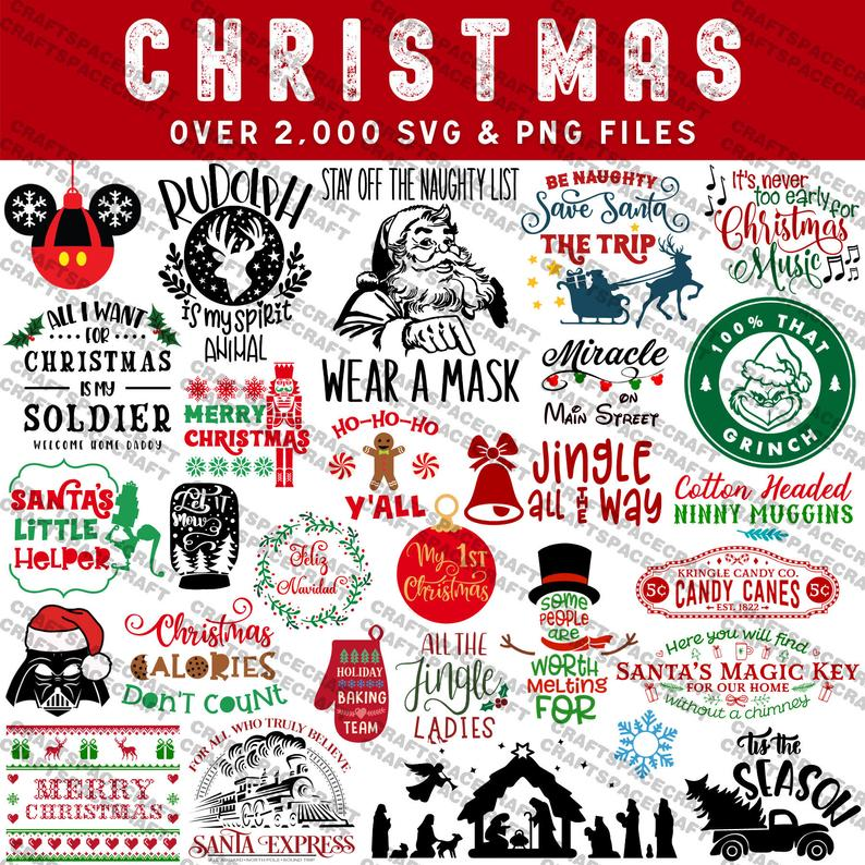 Christmas SVG Bundle 2000 files, Disney santa tree holiday