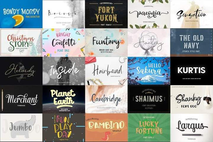 208 Fonts bundle Handwritten font