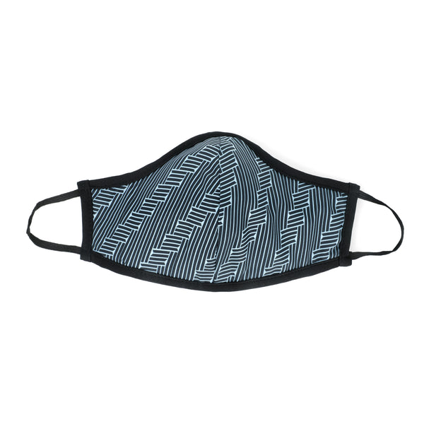 Blue Hex Print Masks for Change Active Collection Moisture Wicking Anti Microbial Triple Layer Fabric Reusable Washable Face Mask