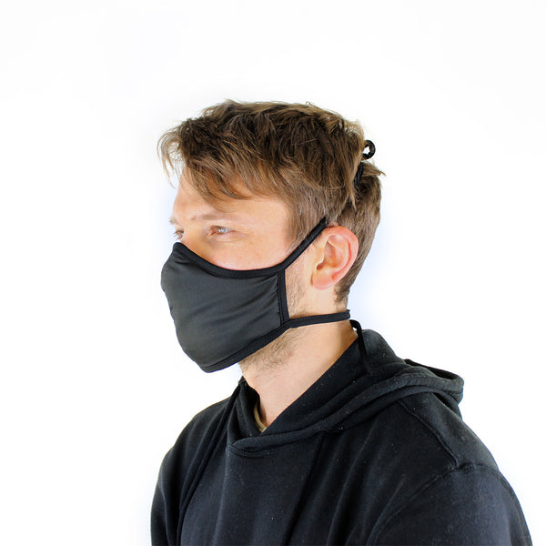 Active Collection Mask 3 Pack (Black with Elastic Ties x 2 and Fabric Ties x 1)