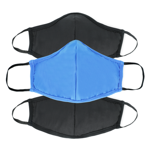 Active Collection Mask 3 Pack (Black, Black and Sky Blue)