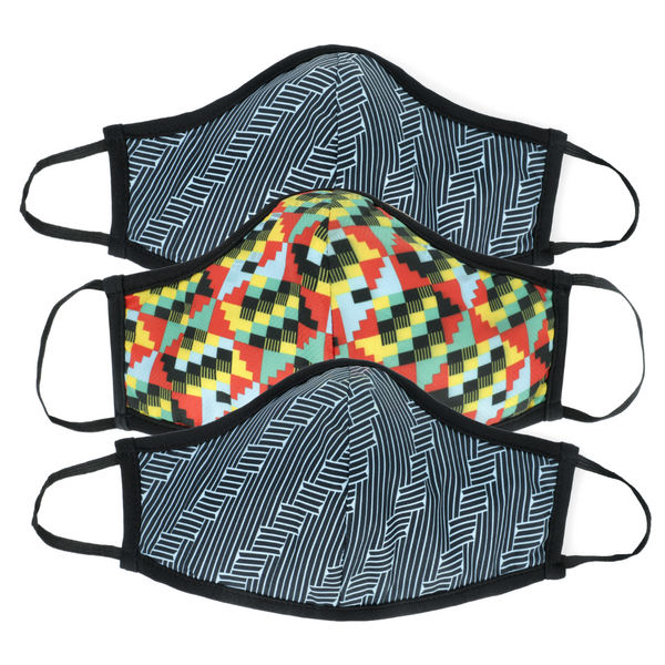 Back to School Special: Small Active Collection Mask 3 Pack (Hex Print x 2 and Multi Print x 1)