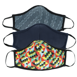 Active Collection Mask 3 Pack (Hex Print, Multi Print and Plain Navy)