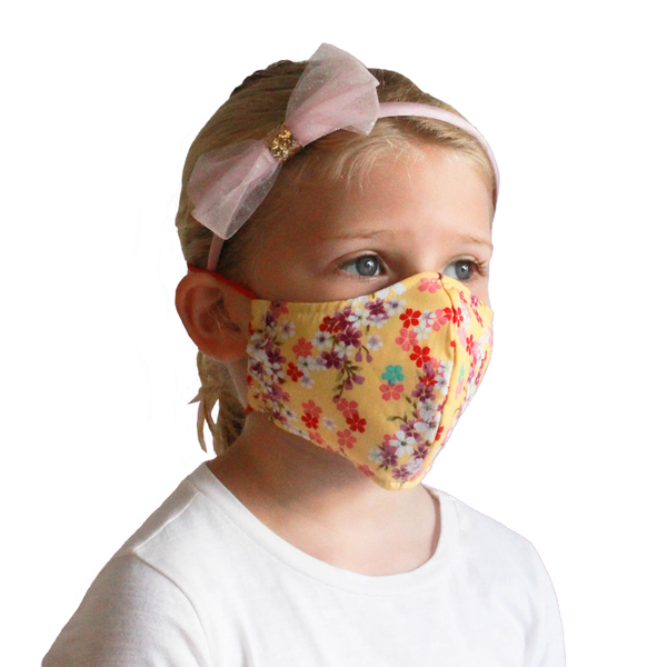 Kids Collection Fabric Face Mask (Floral Yellow) - Masks for Change