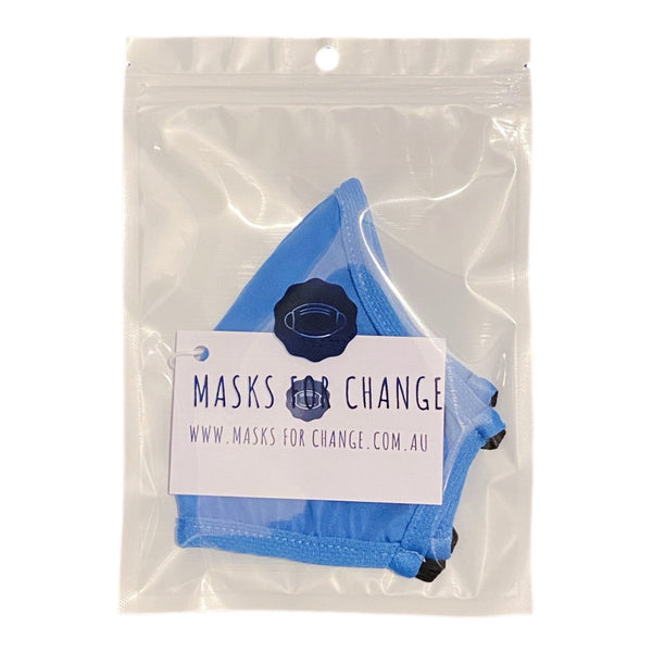 Active Collection Mask 3 Pack (Sky Blue with Elastic Ties)