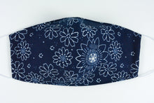 Load image into Gallery viewer, Face mask - size medium (Navy & white flowers)