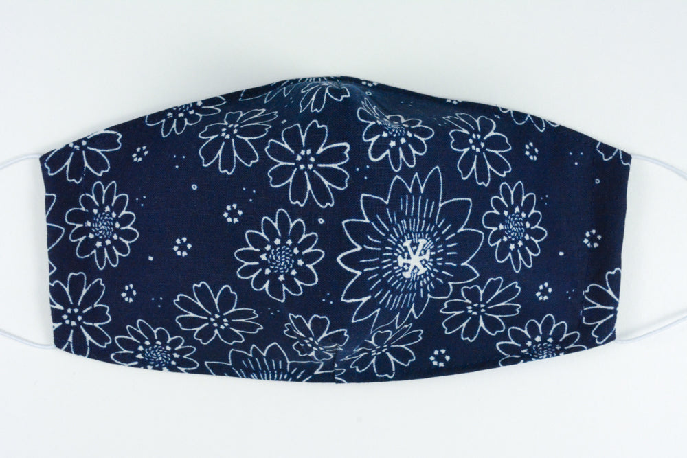 Face mask - size medium (Navy & white flowers)
